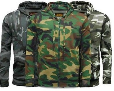 Army Military Mens Adult Hunting Hoodie Hooded Zip Top Shooting Jacket Camo New