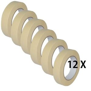 12-X-LOW-TACK-MASKING-TAPE-25MM-X-50M-PAINT-PAINTING-MASK-DECORATE-WALLS-Remove