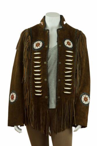 Donna Marrone Nativi Americani Indiano In Pelle Scamosciata Giacca Biker Vintage Rock