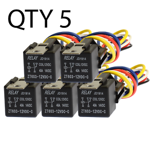 Excellent 5 Pack 30 40 Amp Relay Wiring Harness Spdt 12 Volt Bosch Style S Wiring Digital Resources Spoatbouhousnl