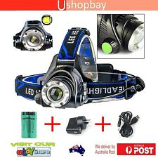 Headlamp Zoomable CREE XM-L T6 LED 2500Lm Bicycle Bike Torch Headlight 18650