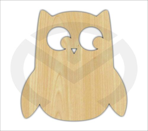 Door Hanger, Wreath Accent Unfinished Wood Owl w//face Laser Cutout larger