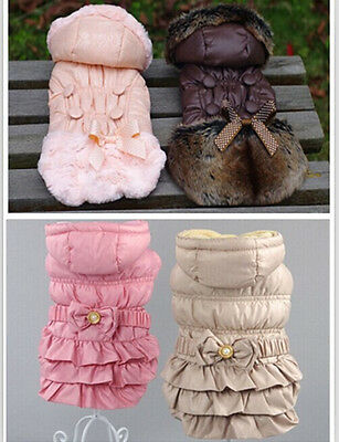 Warm new small dog pet clothes apparel hoodie bowtie princess dress coat outfit