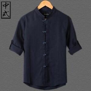 cffc7396c27 New Chic Mens Linen Cotton Summer Casual Shirts Chinese Style Tang ...