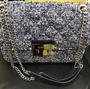 f76a00ee83e1 Image is loading Michael-Kors-Sloan-Admiral-Quilted-Large-Tweed-Shoulder-