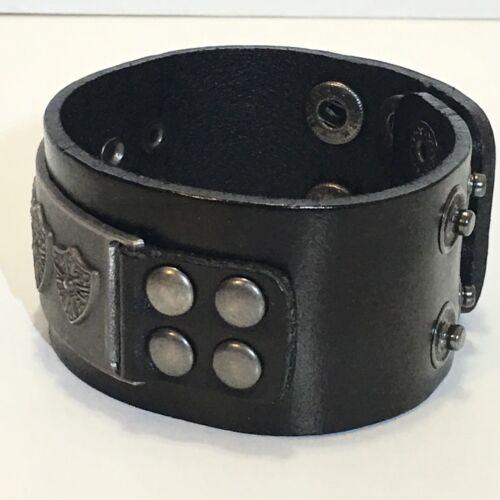 Black Leather Bracelet with Royal Shield Buckle with Studs Biker Punk Bracelets