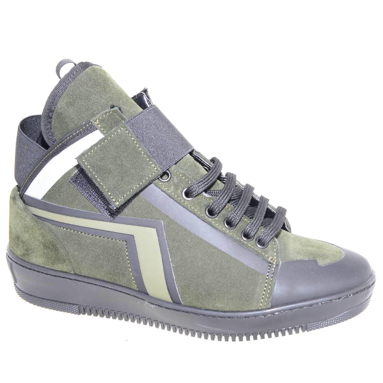 Sneakers alta made in italy  art.PM002 in vera pelle scamosciata verde con strap