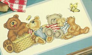 Bears-039-Picnic-Teddy-Bears-Counted-Cross-Stitch-Pattern-Leaflet-Summer-season
