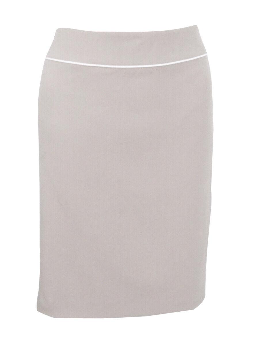Tahari ASL Women's Petite Piped Pencil Skirt 6P, Beige Ivory