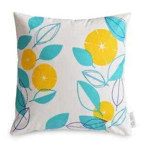 Waterproof Outdoor Cushion Cover Modern Floral Yellow Aqua Blue
