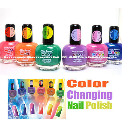 6 FULL SET MIA SECRET MOOD COLOR CHANGING NAIL POLISH LACQUER MD - MADE IN USA