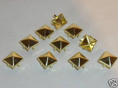 50 Pyramiden-Nieten Pyramidennieten 9x9mm Gothic Punk gold