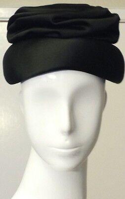 Vintage, Saks Fifth Avenue Millinery Salon - Black, Satin, Cloche Hat (XS)