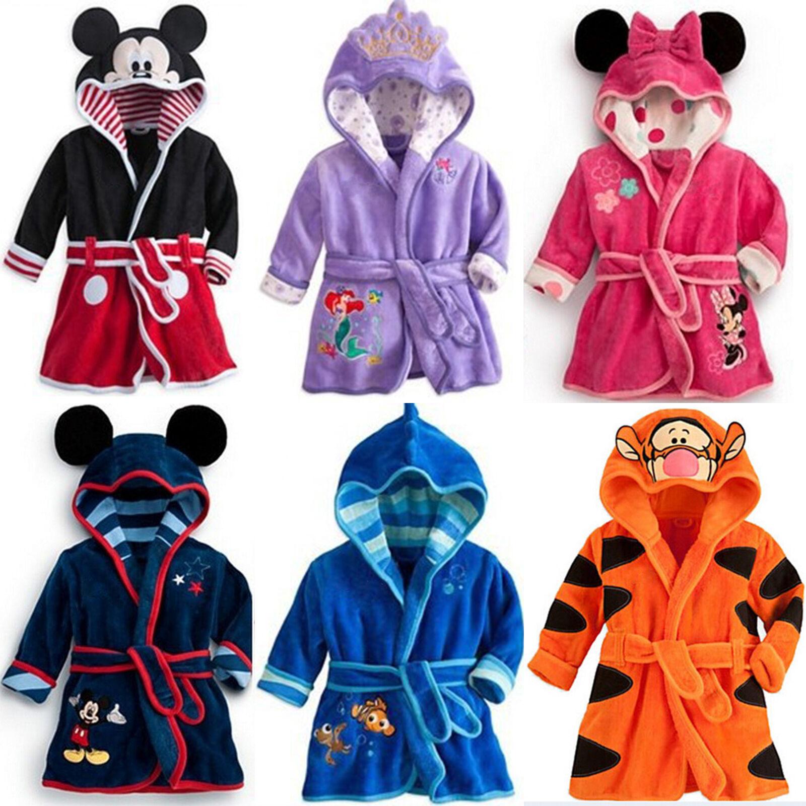 Kinder Bademantel Mickey Frottee Kapuzen Bathrobe Fleece Nachtwäsche Pyjamas Pjs