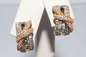 6-000-93Ct-Natural-Diamond-Cluster-Earrings-18K-Two-Tone-Gold