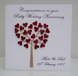 Image Is Loading Personalised Ruby Wedding Anniversary Card 40 Years Any