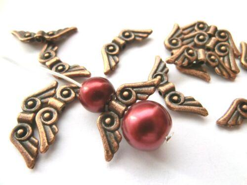 30 spacer ala de ángel color cobre 22x8mm metal perlas alas #s071