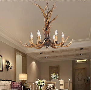 American deer horn antler resin pendant light chandelier hanging image is loading american deer horn antler resin pendant light chandelier aloadofball Choice Image
