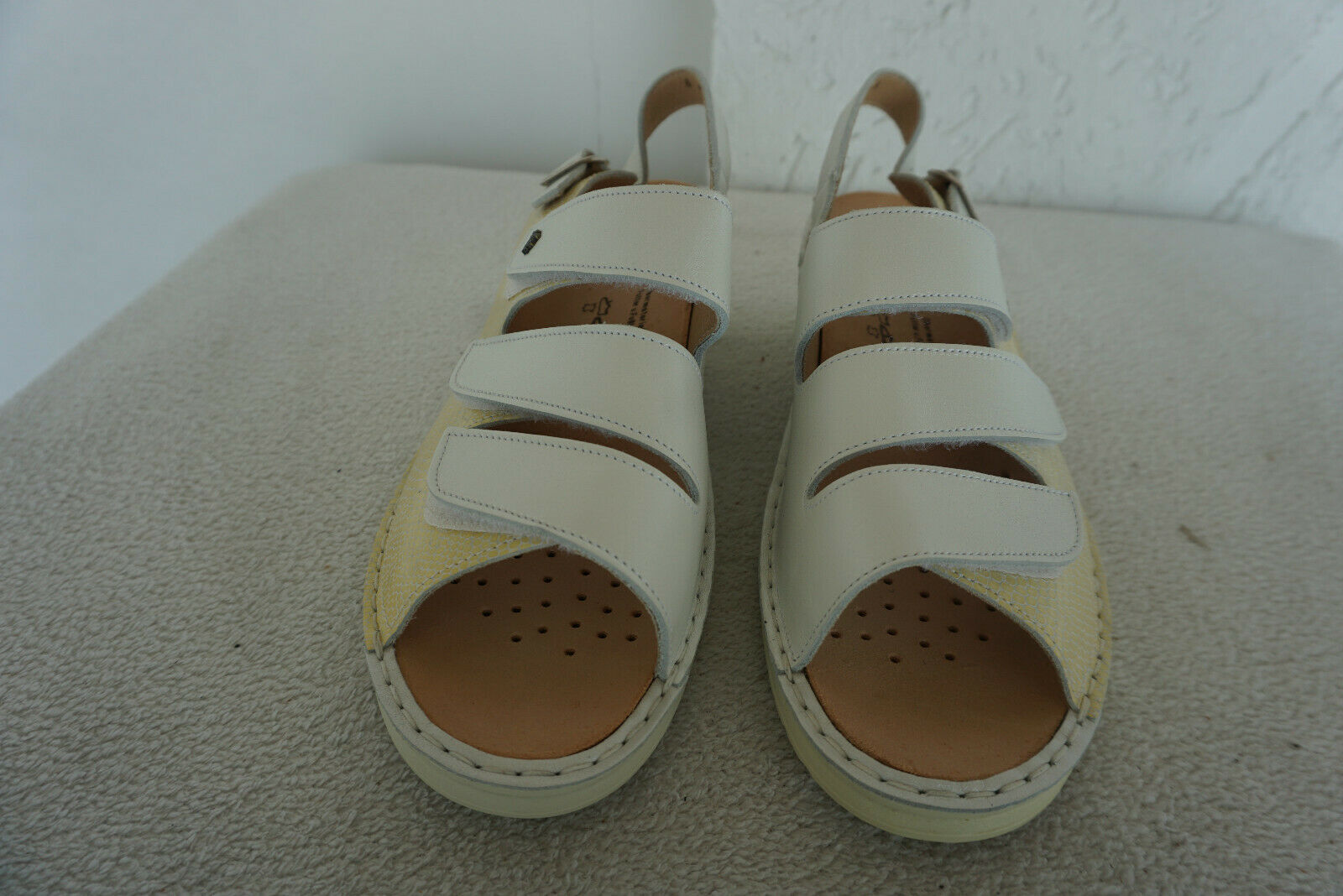 FINN COMFORT Samos Sommer Schuhe Klett Sandalen Gr.8  42 Weiß Einlagen leder NEU