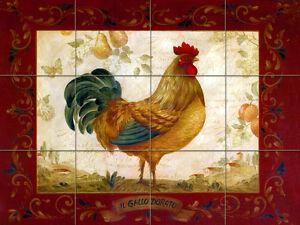 Image Is Loading Travertine Vivid Art Rooster Kitchen Mural Backsplash Bath