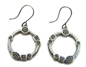 Image Is Loading David Yurman Silver Confetti Round Earrings Black Diamond