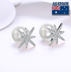 Details About 18k White Gold Filled Zirconia Star 10mm Pearl Ball Stud Earrings Double Sided