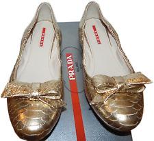 PRADA Gold Python BOW Ballet Flat Ballerina Shoe Pump 36 - 6 Slipper Loafer