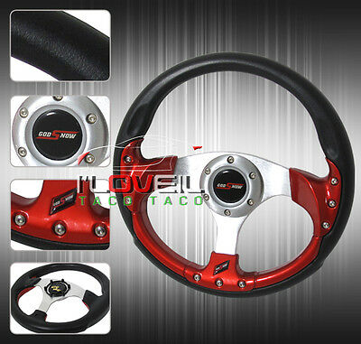 320MM UNIVERSAL CHEVY TRUCK 6-BOLT STEERING WHEEL PVC LEATHER BLACK+HORN BUTTON