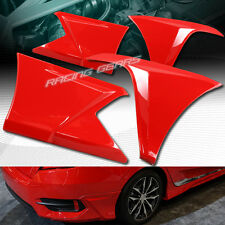 PAINTED RED FRONT+REAR BUMPER LIP BODY KIT 4-PCS FIT 16-17 HONDA CIVIC SEDAN/4DR