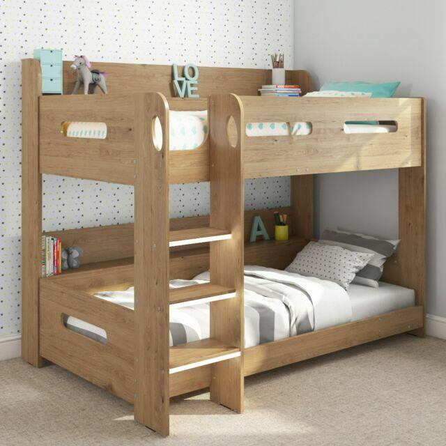 Sky Furniture Sky004a Wooden Bunk Bed With Ladder And Built In Shelves Oak For Sale Online Ebay