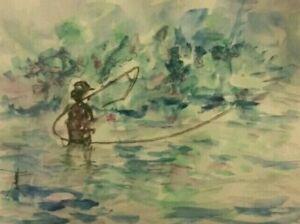 ORIGINAL-Fly-Fishing-Watercolor-painting