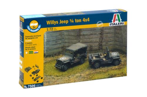 Italeri 7506-1//72 Willys Jeep 1//4 Ton 4X4 Enthält 2 Modelle Neu