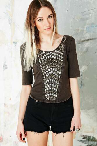 Urban Outfitters Ecote Beaded Chevron Bodycon Top RRP £38 Small Charcoal