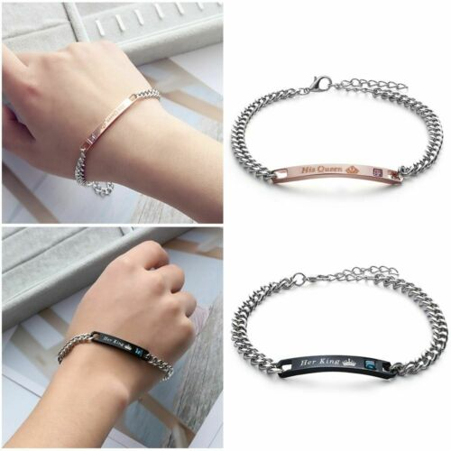 Men and Women Love Bangle Her King Couple Bracelets His Queen Stainless Steel