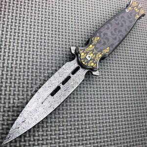 8-25-034-Damascus-Etch-Black-Dirk-Dagger-Spring-Open-Assisted-Pocket-Knife-Blade