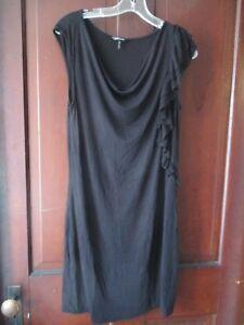 Daisy-Fuentes-Women-039-s-Size-Medium-Sleeveless-Solid-Black-Knee-Length-Dress