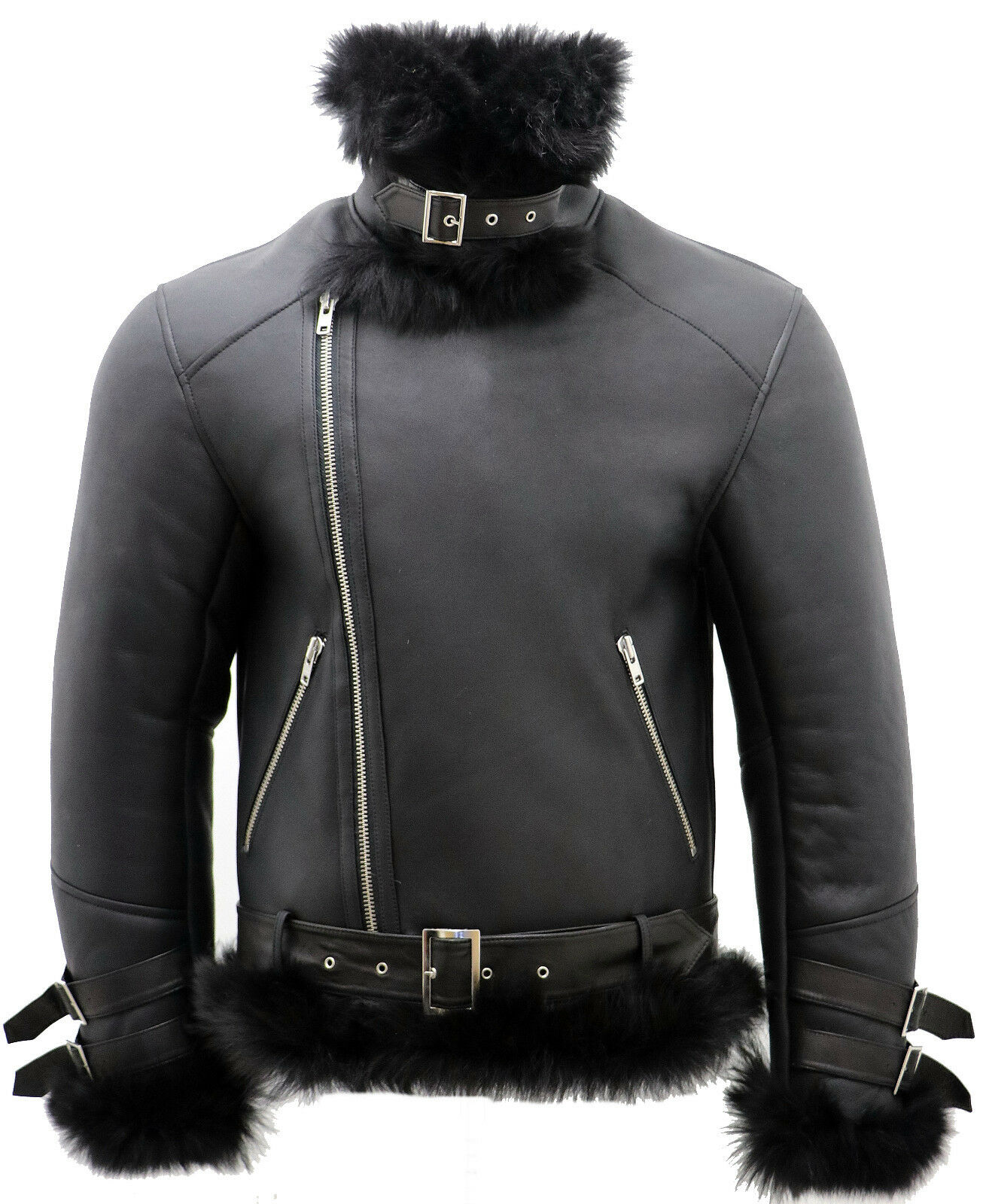 noir pou hommes crosszip Toscana peau en de mouton Veste motard en peau cuir a769b2