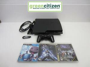 Sony PlayStation 3 Slim CECH-3001A 160GB Console - Controller, 3 Games - GOOD