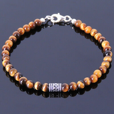 Men's Bracelet Healing Gemstone 4mm Tiger Eye 925 Sterling Silver Handmade 124M