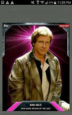 Topps Star Wars Digital Card Trader Bounty Han Solo Insert Award