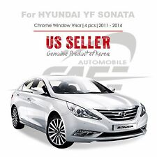 Chrome Window Vent Visors Rain Guards Tape On For Hyundai YF Sonata 2011-14 NEW