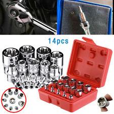 W//case Vector Tools 14pc Torx Torq Torque Star Female E-Socket Set Bit 1//4+3//8+1//2 Dr