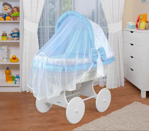 Waldin Baby Toy Wagon Fabrics White//Blue Bassinet complete with Accessories