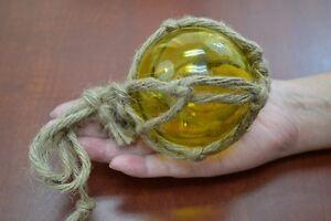 "3 PCS REPRODUCTION YELLOW GLASS FLOAT FISHING BALL BUOYS 3/"" #F-460"