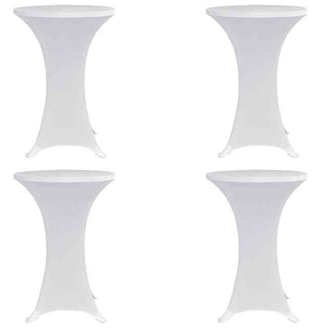 vidaXL 4x Housses Elastiques de Table Ø 70 cm Blanc Nappe Mariage Banquet