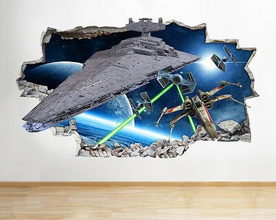 H144 Starwars Battle Space Smashed Wall Decal Poster 3D Art Stickers Vinyl Room