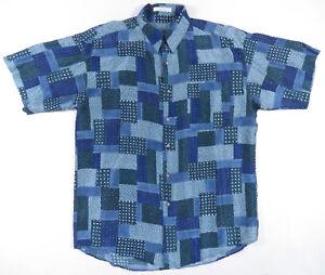 Bleu Géométrique Abstrait Imprimé Soie Chemise Boutonnière Jazz