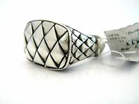 John Hardy Men's Naga Rectangular Silver Band Ring Size 10.25