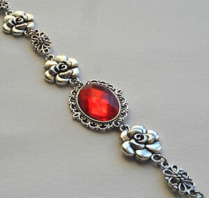 CAMELLIA-FILIGREE-VICTORIAN-STYLE-FACETED-ORANGE-RED-SILVER-PLATED-BRACELET-CFB