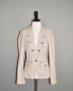 WHITE-HOUSE-BLACK-MARKET-189-Herringbone-Raw-Edged-Day-Blazer-Jacket-Size-4